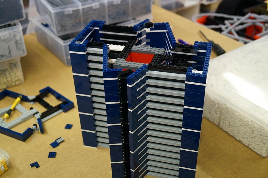 Eureka Tower LEGO model construction in progress