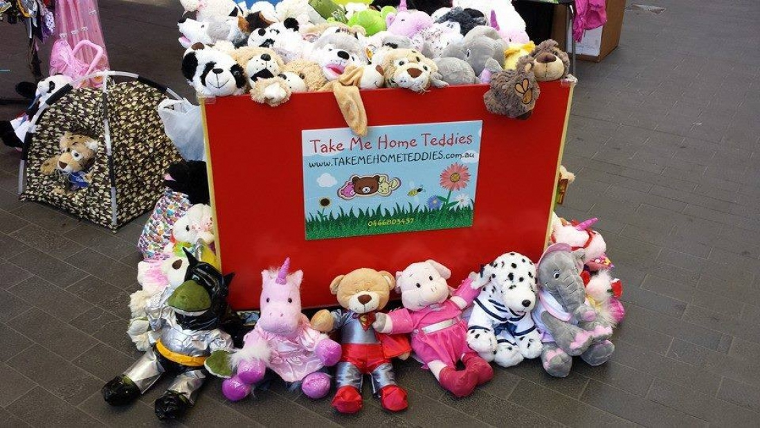 Piles of small soft toys
