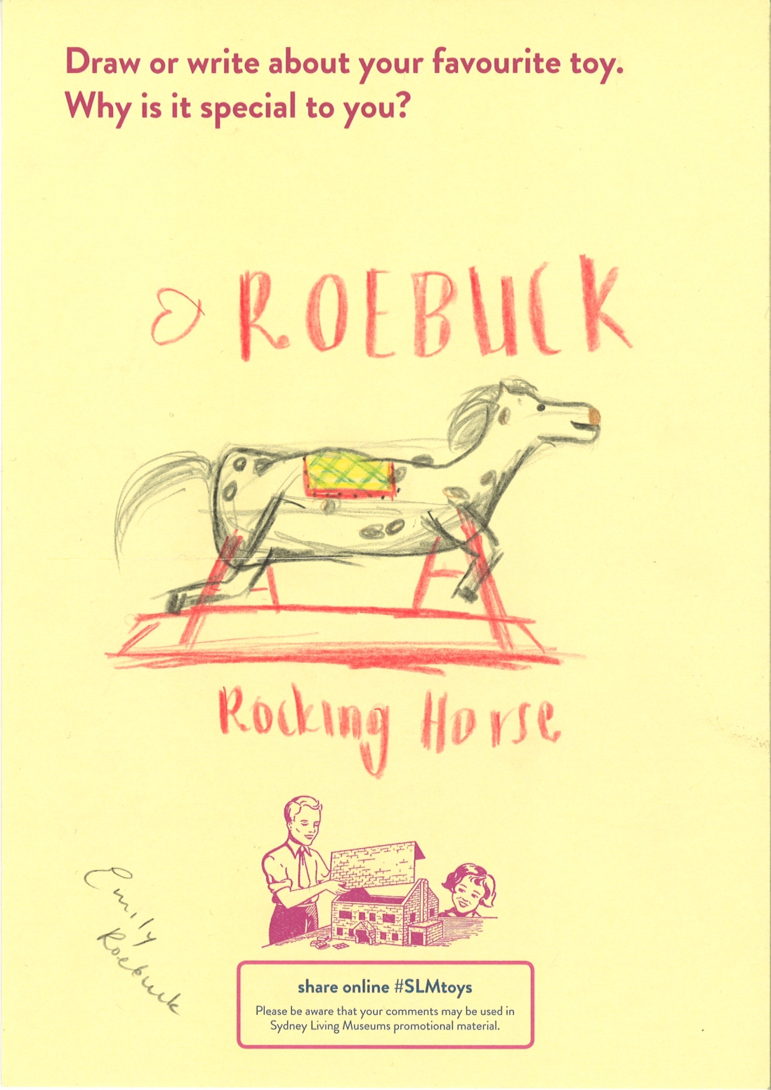 Drawing of retro rocking horse