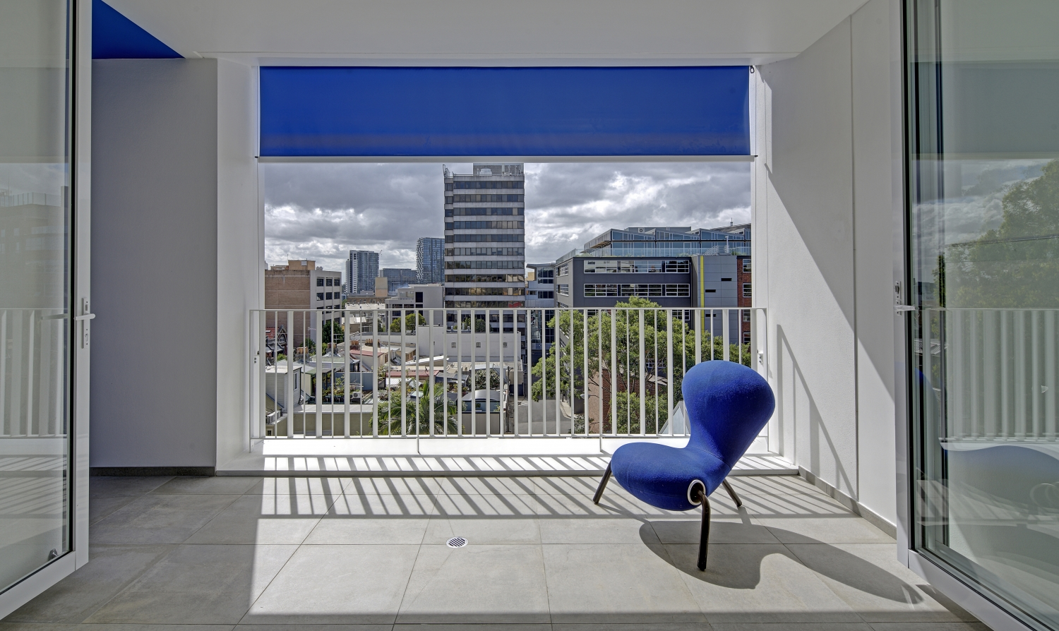 Interior photograph looking out of Studios 54 including the blue level balcony.