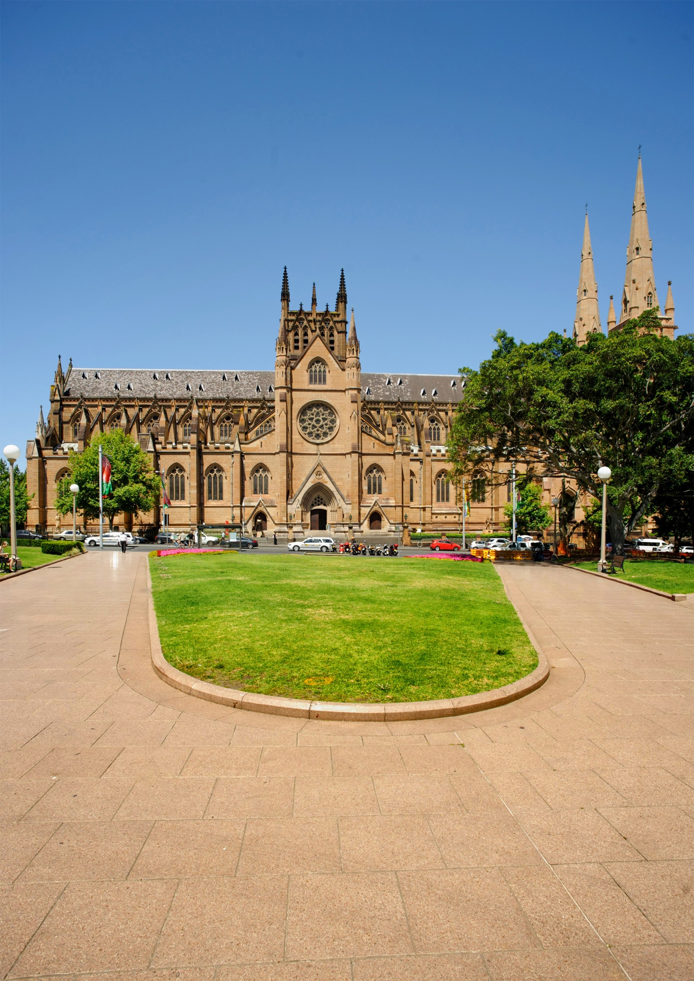St Mary's Cathedral viewed from Hyde Park, Sydney.