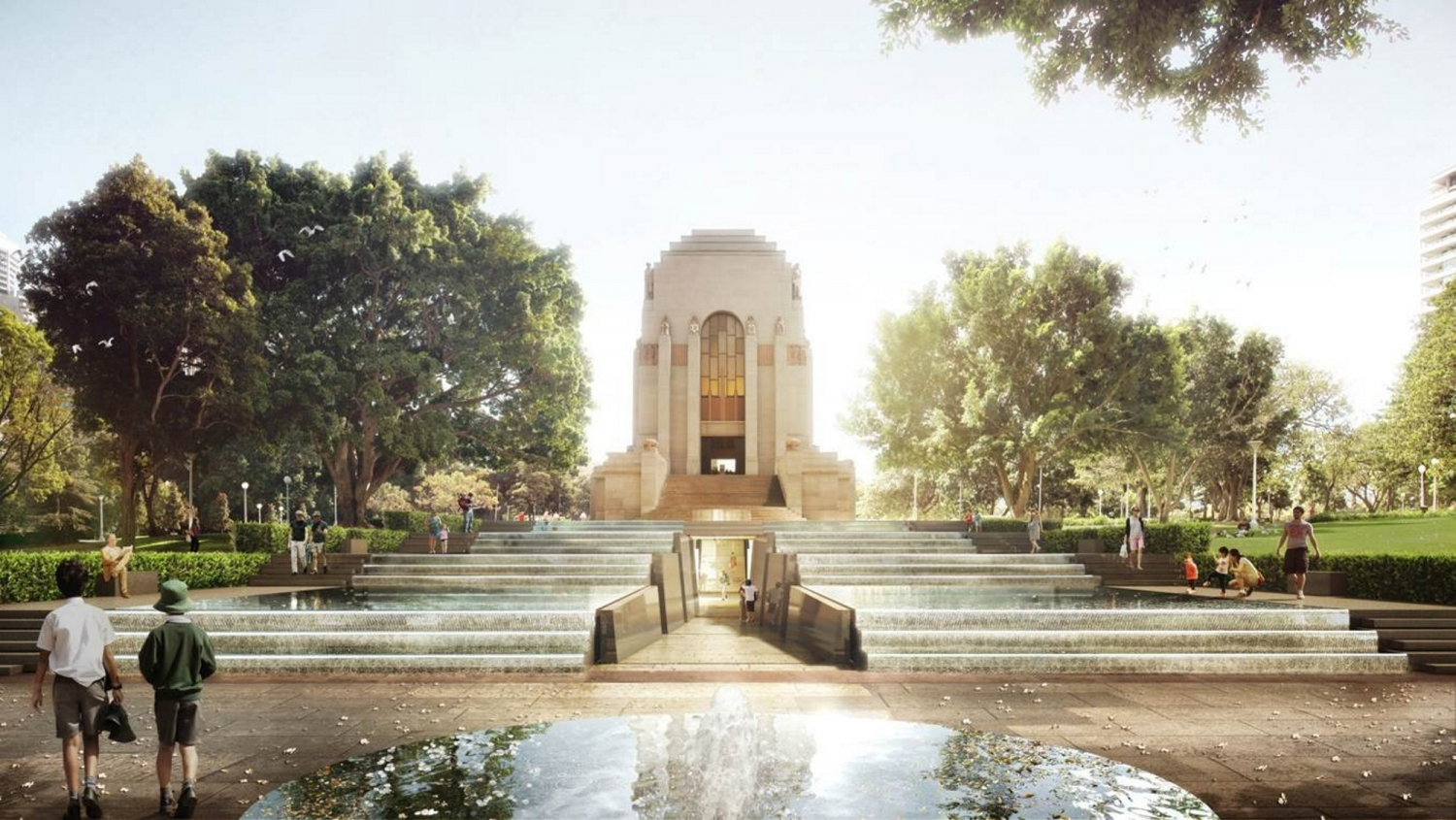 Rendered image of memorial looking up from avenue.