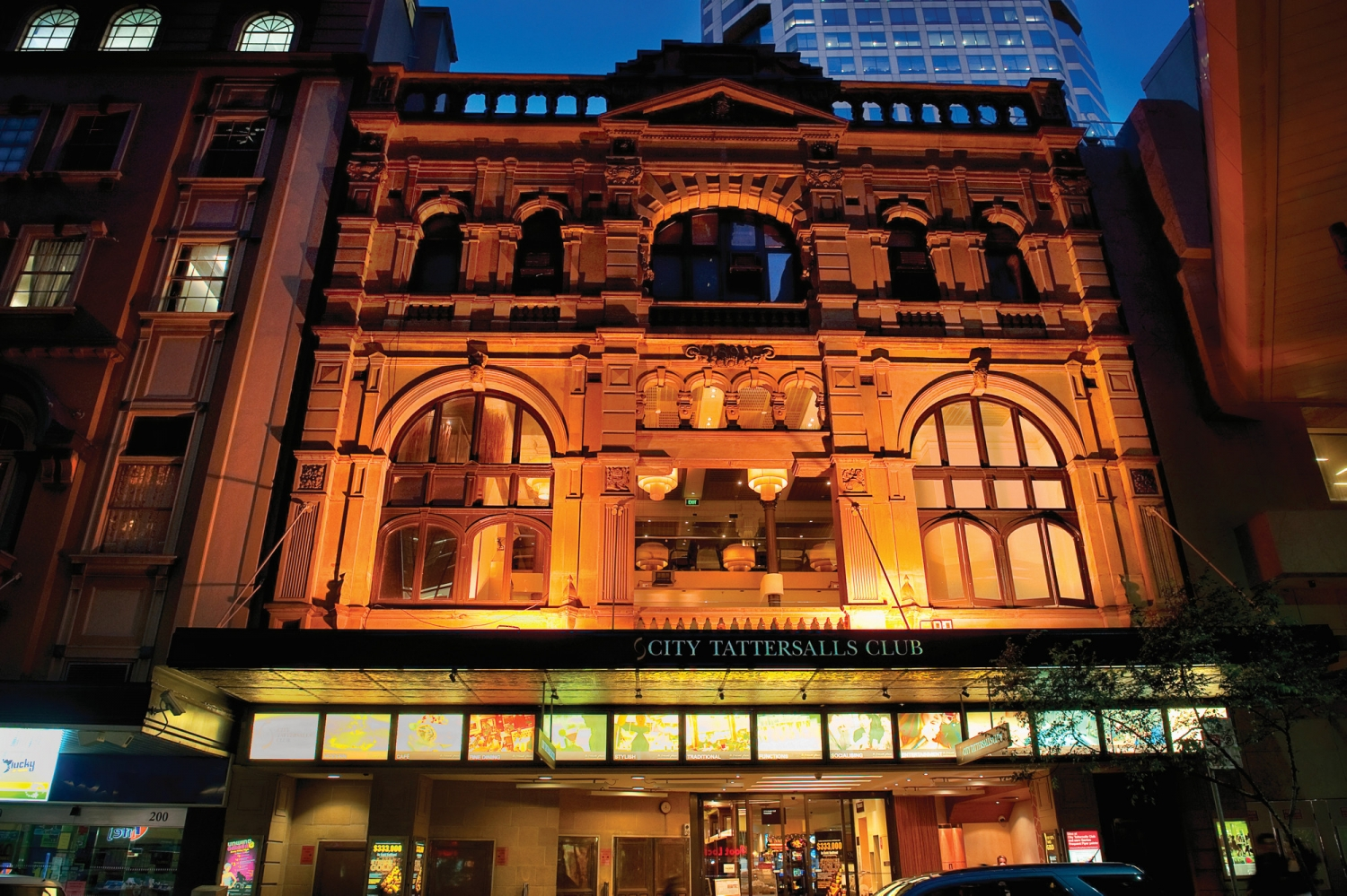 Exterior of City Tattersalls club taken from Pitt Street at night.