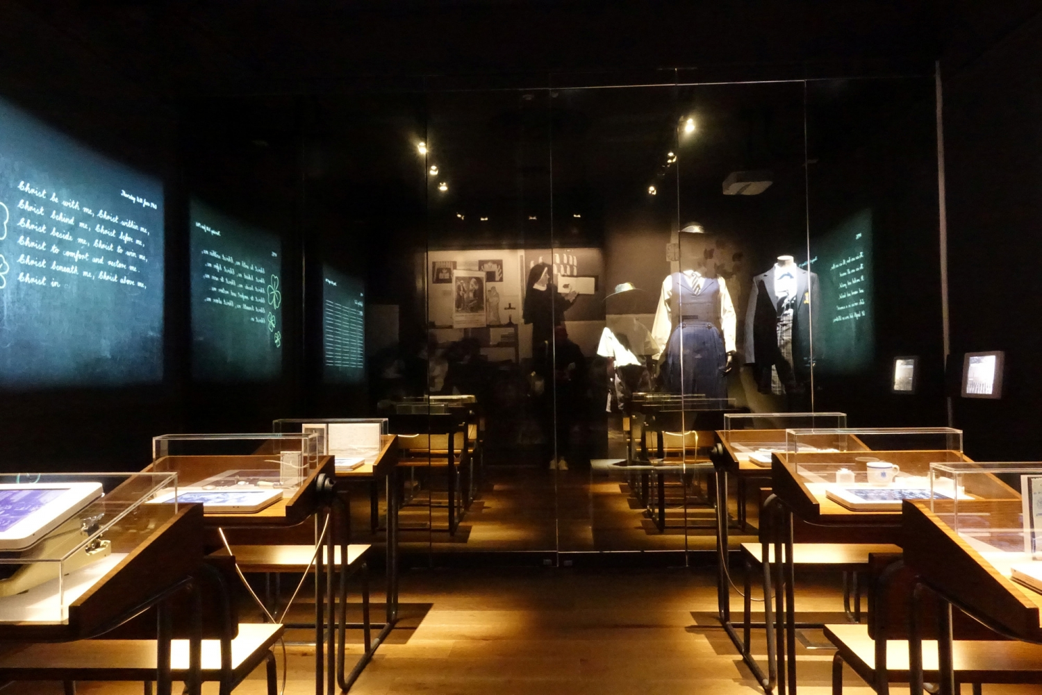 Photograph showing the 'Education Room' one of the exhibition spaces as part of the Monte Mercies Story at Stormanston House.