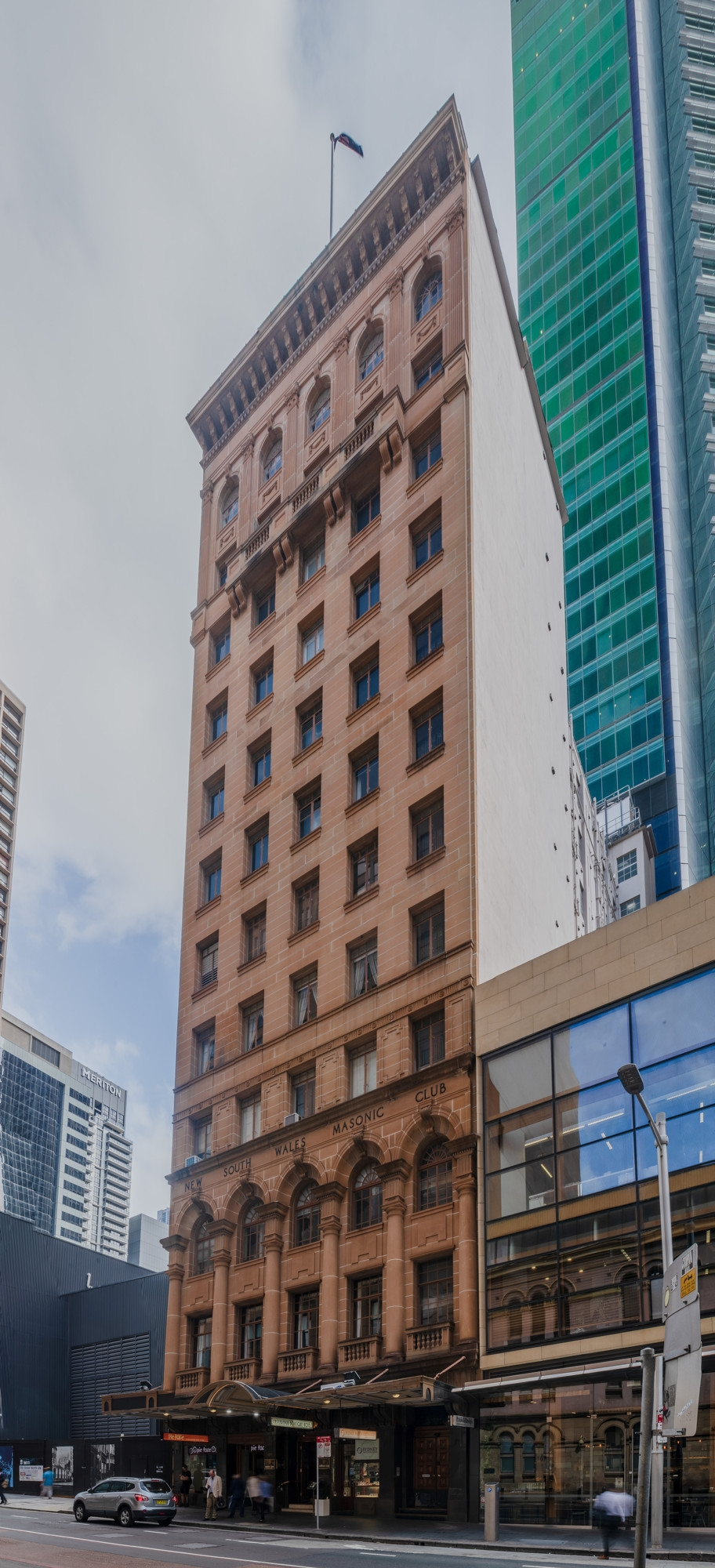 View of Castlereagh Boutique Hotel & NSW Masonic Club exterior from Castlereagh Street.