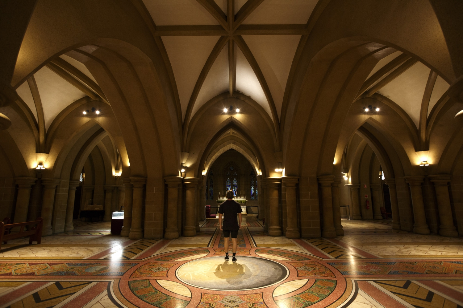 Interior of building with vaulted ceiling and patterned tiled floor.
