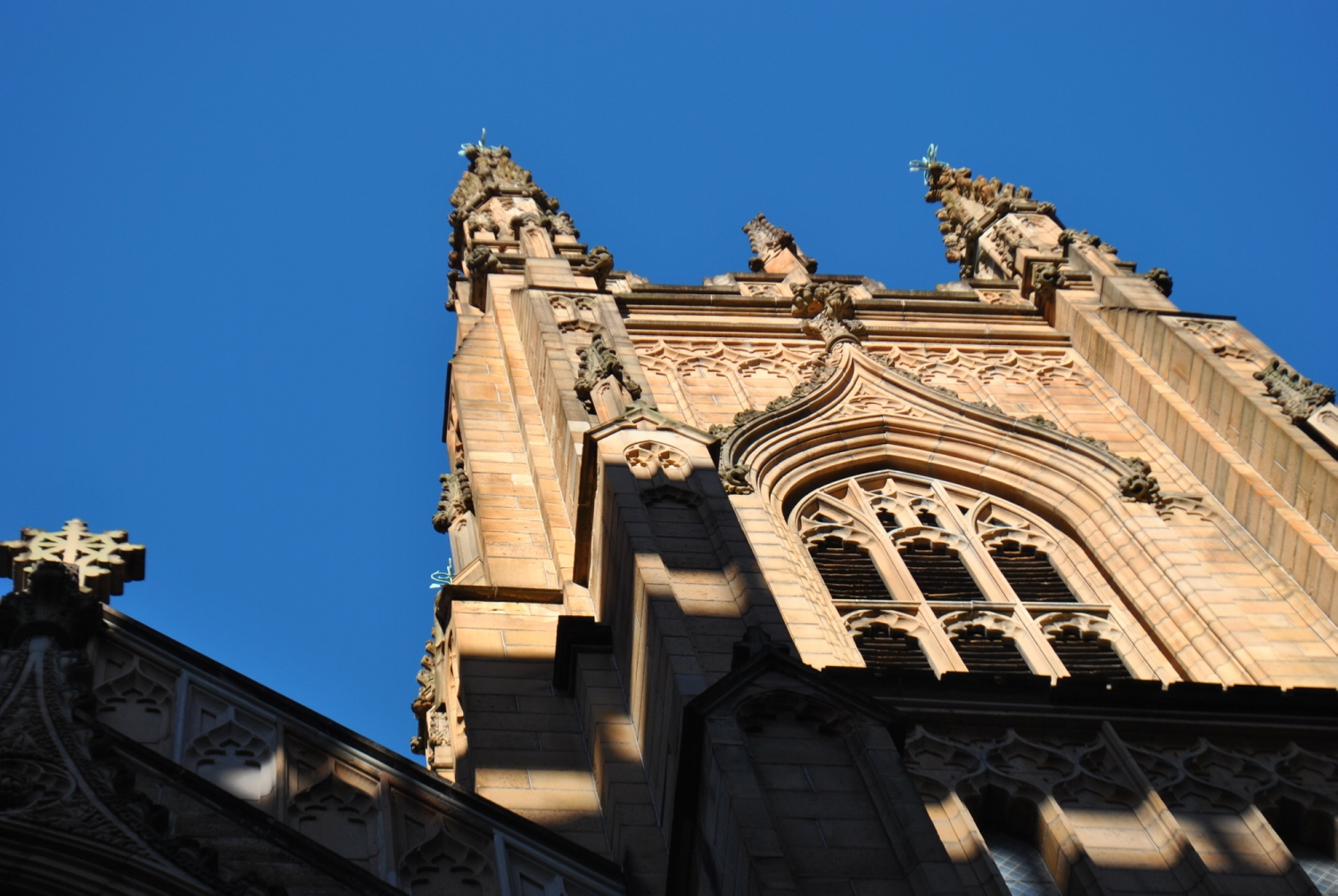 Looking up at front window of cathedral.