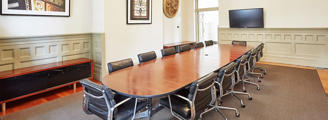 Boardroom table with seating.