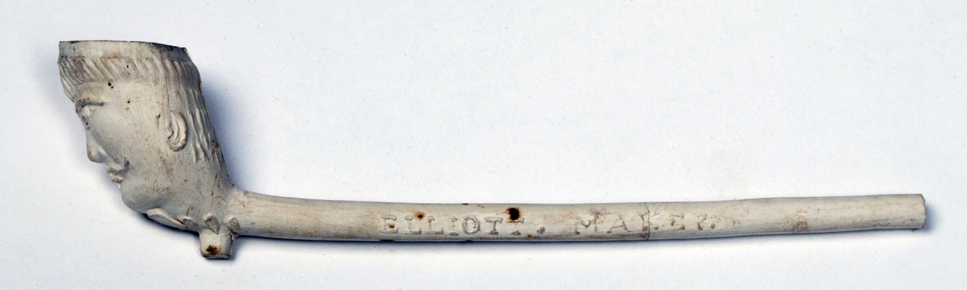 White clay pipe with 'Elliott. Maker' on stem