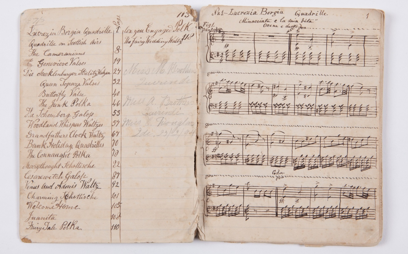 Manuscript music book, containing dance music for the piano sourced from imported printed collections, circa 1880.