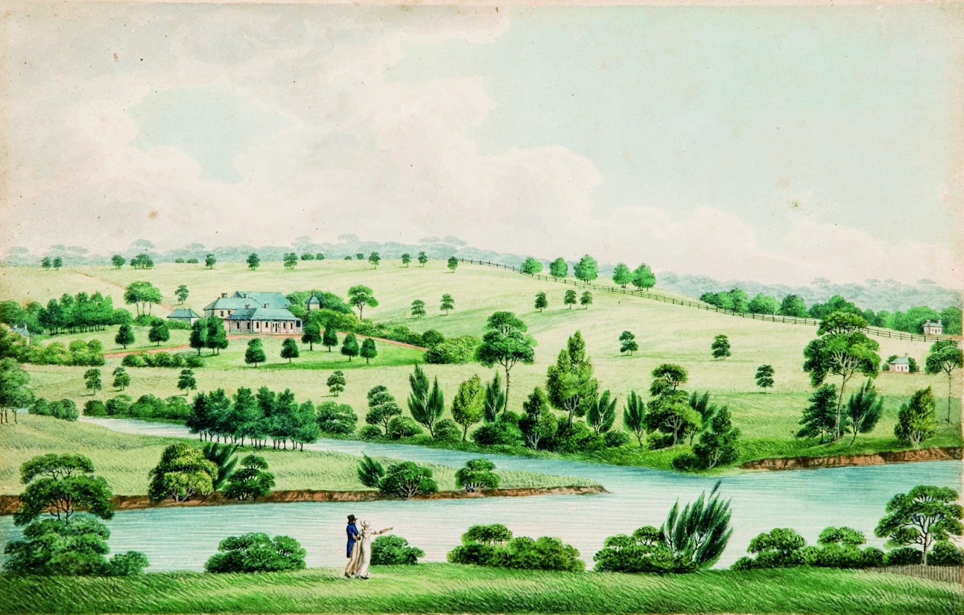 Landscape showing farm and river in background. Aquatint, hand coloured.