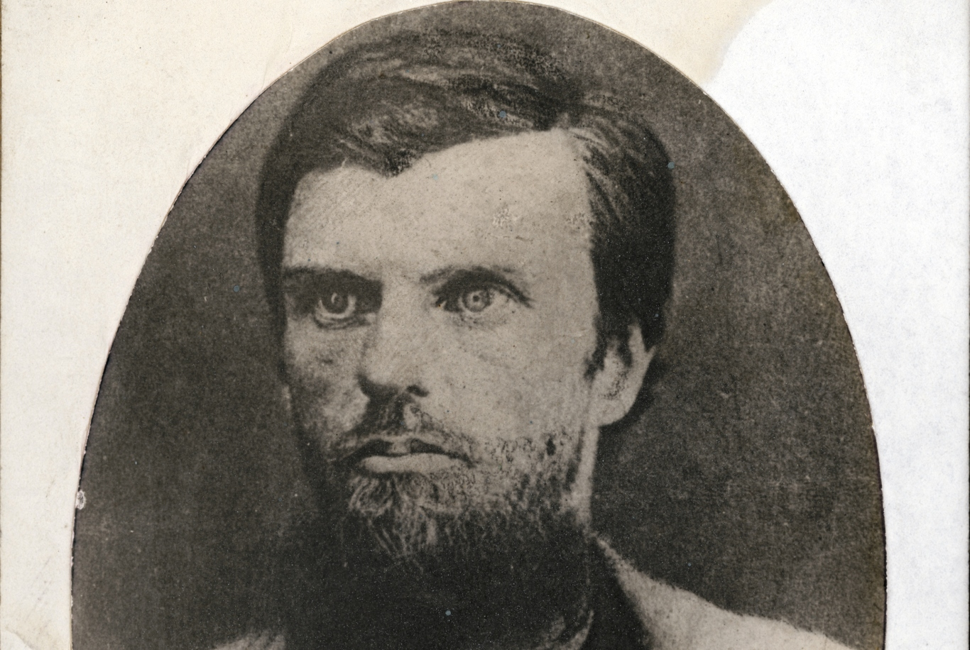 Cropped version of photo portrait of bearded man, mounted on card.