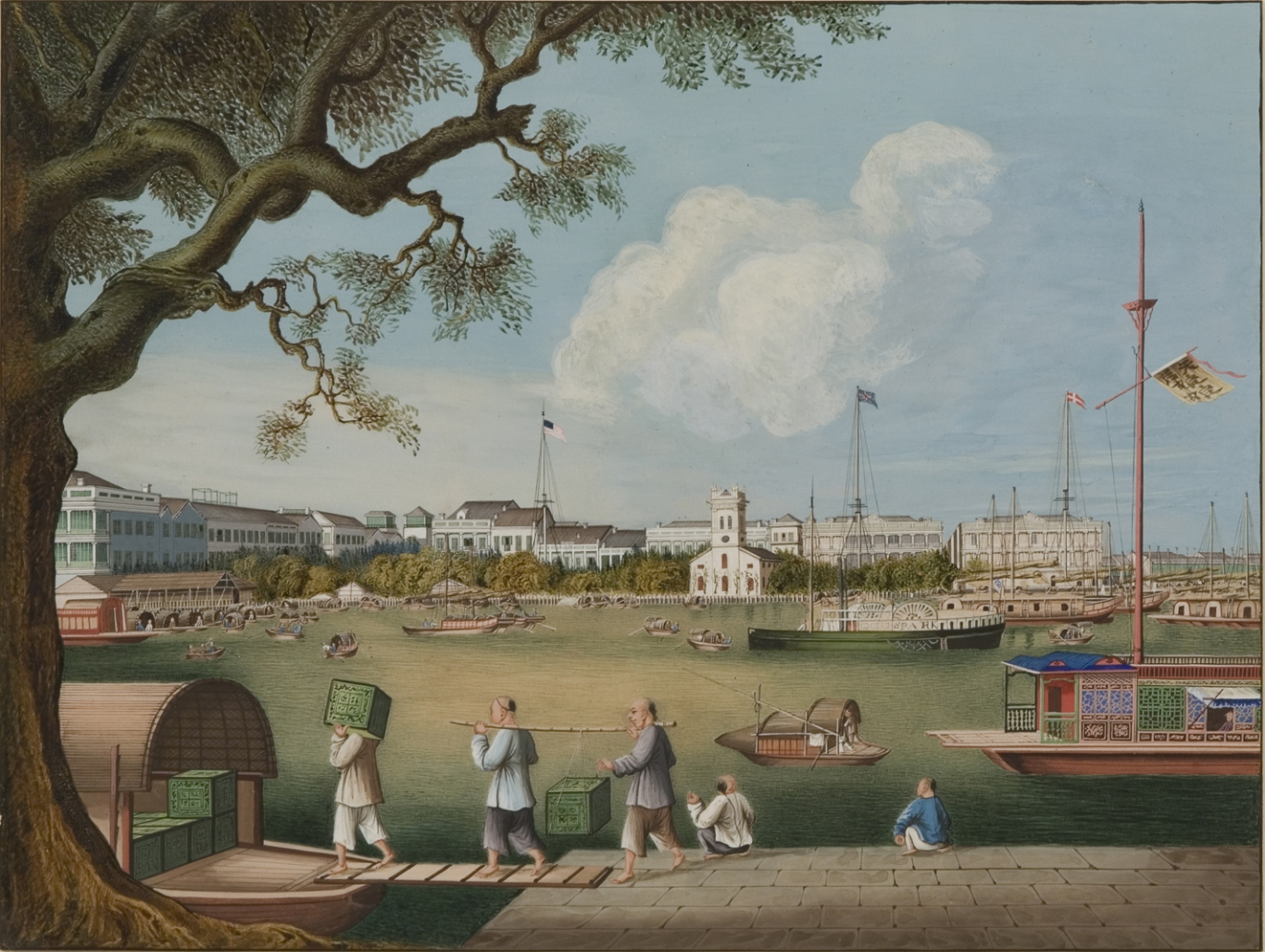 Gouache painting of the waterfront at Guangzhou, China. The hongs or factories shown in this view are those rebuilt after the fire of 1841. This view is dated by the Protestant (Anglican) church erected in 1847.