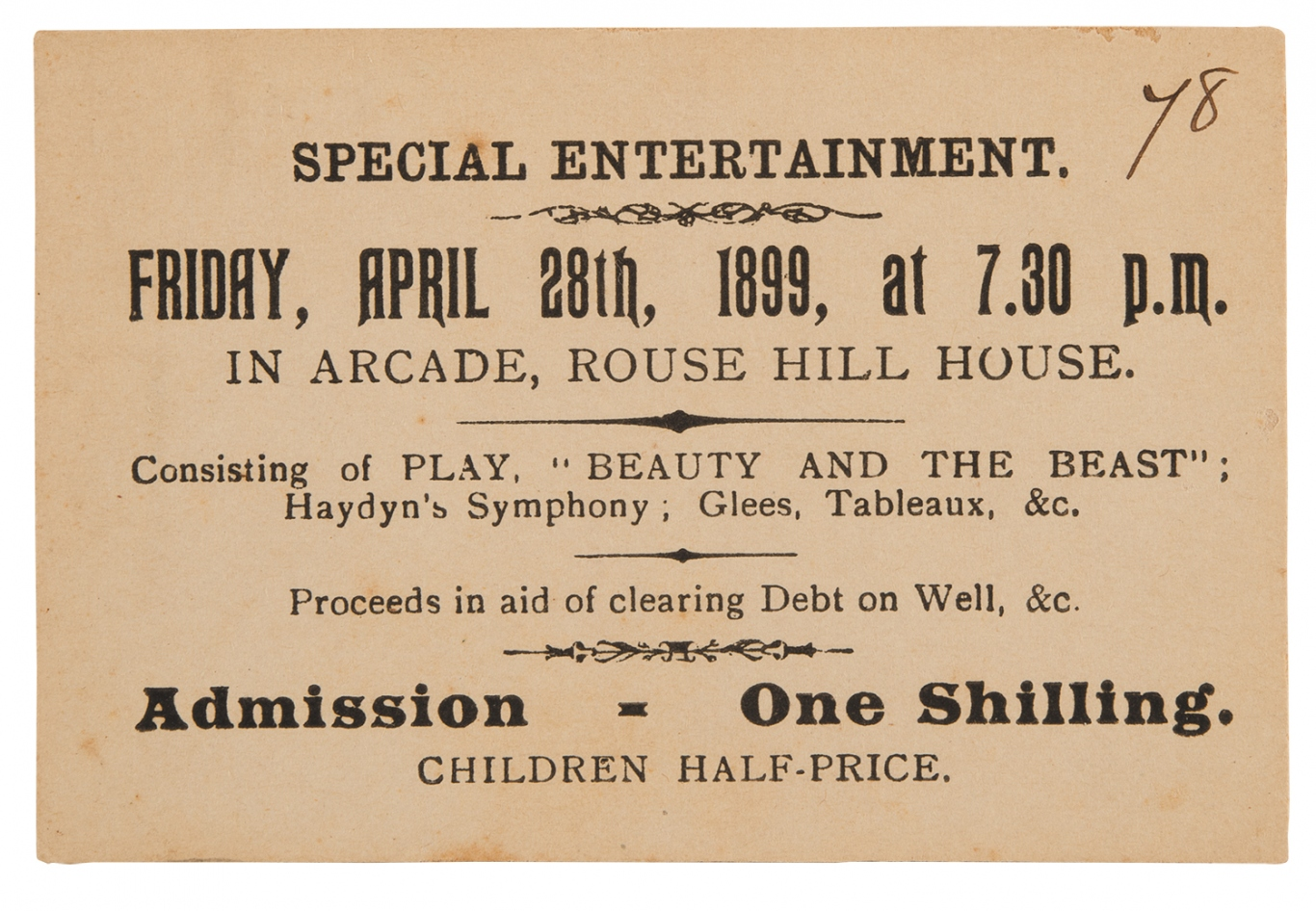 Paper ticket entitled 'Special Entertainment', an invitation to Rouse Hill House & Farm