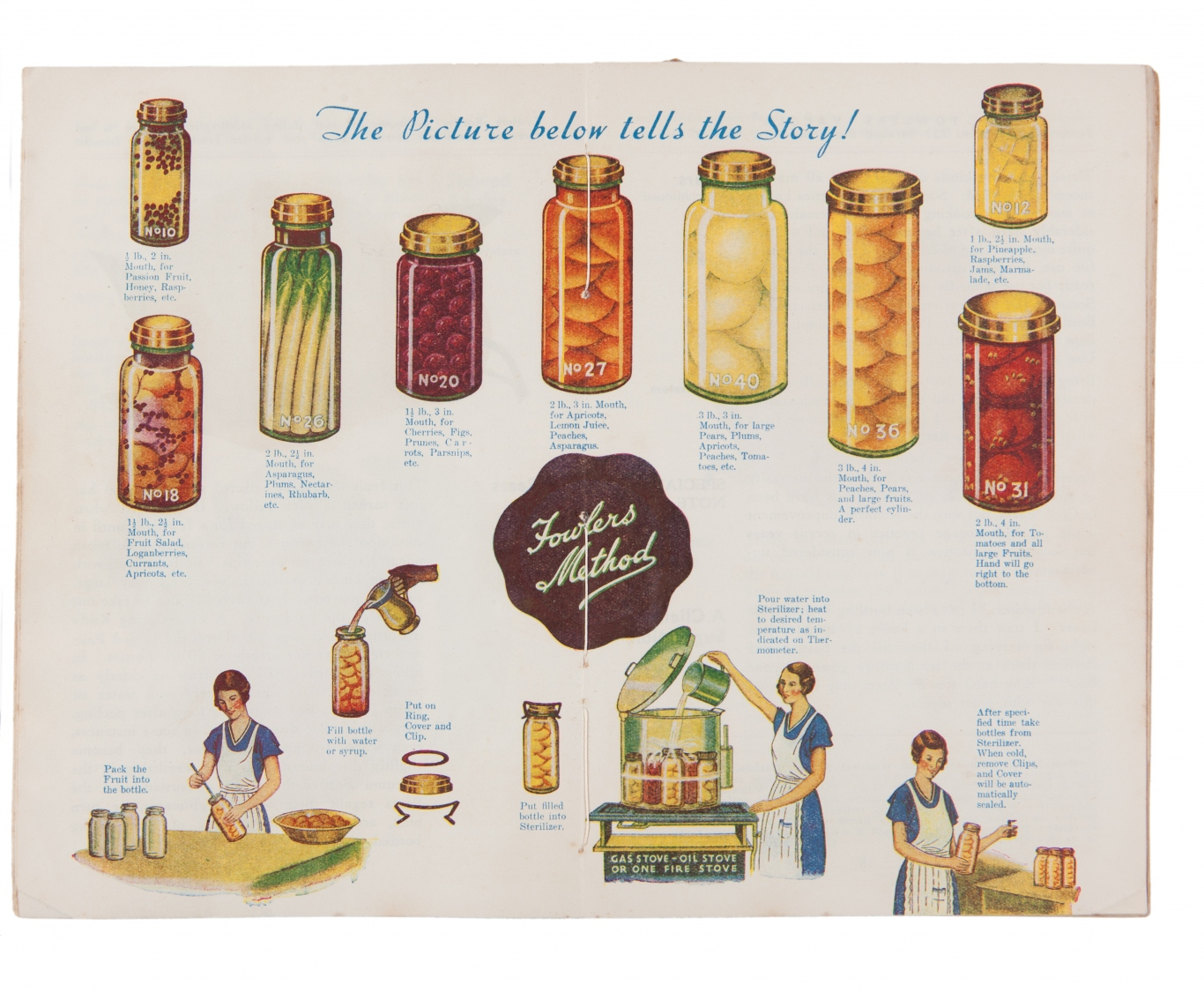 Page from a illustrated booklet with jars of pickles and illustrations of pickling techniques.