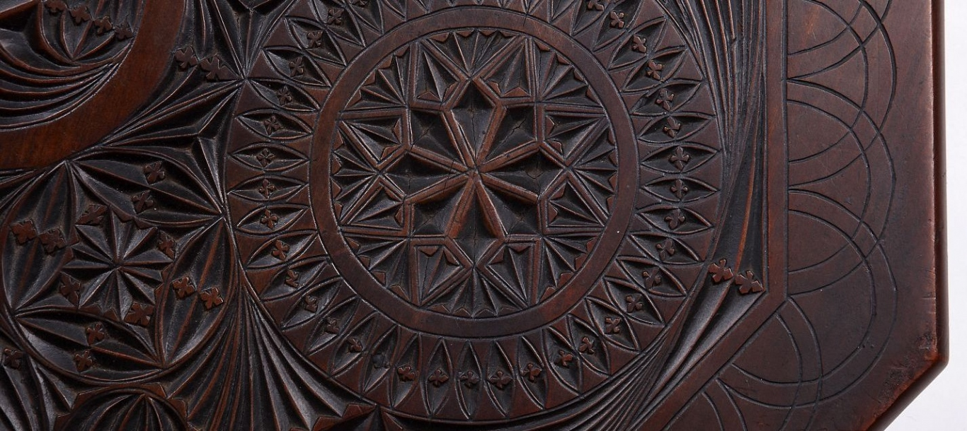 Chip-carved table detail
