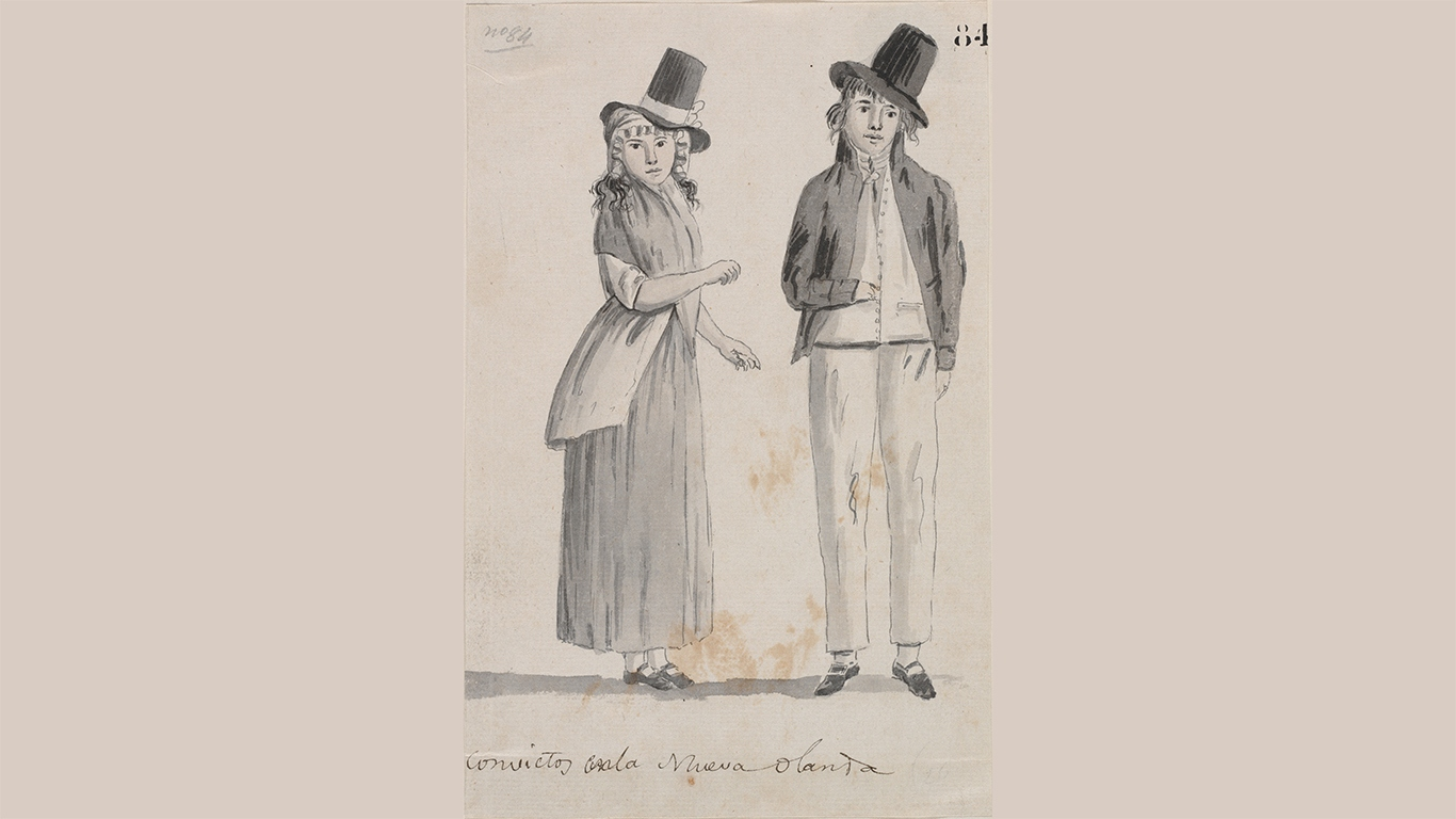 Original drawing on paper placed onto matching background of convict man and woman in typical dress of the day.