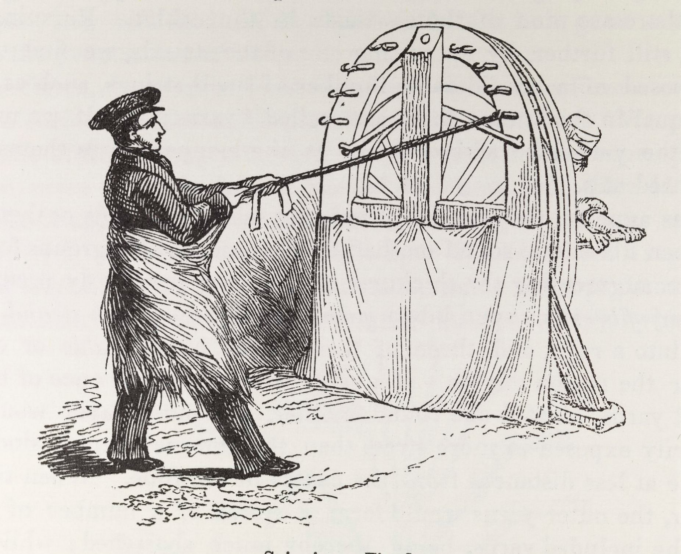 Black and white print of man pulling rope strands from a wooden wheel being turned by another man.