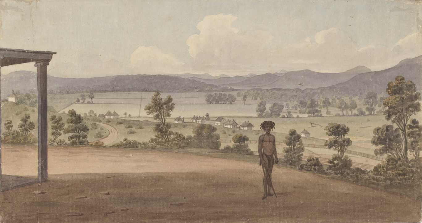 Illustration of landscape scene with Aboriginal person in foreground.