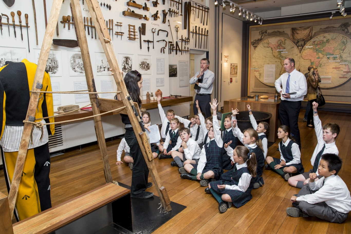 Students in the North Greenway gallery answering questions about what different types of work convicts had to do once they arrived in NSW with Jacqui Greenfield Hyde Park Barracks Museum