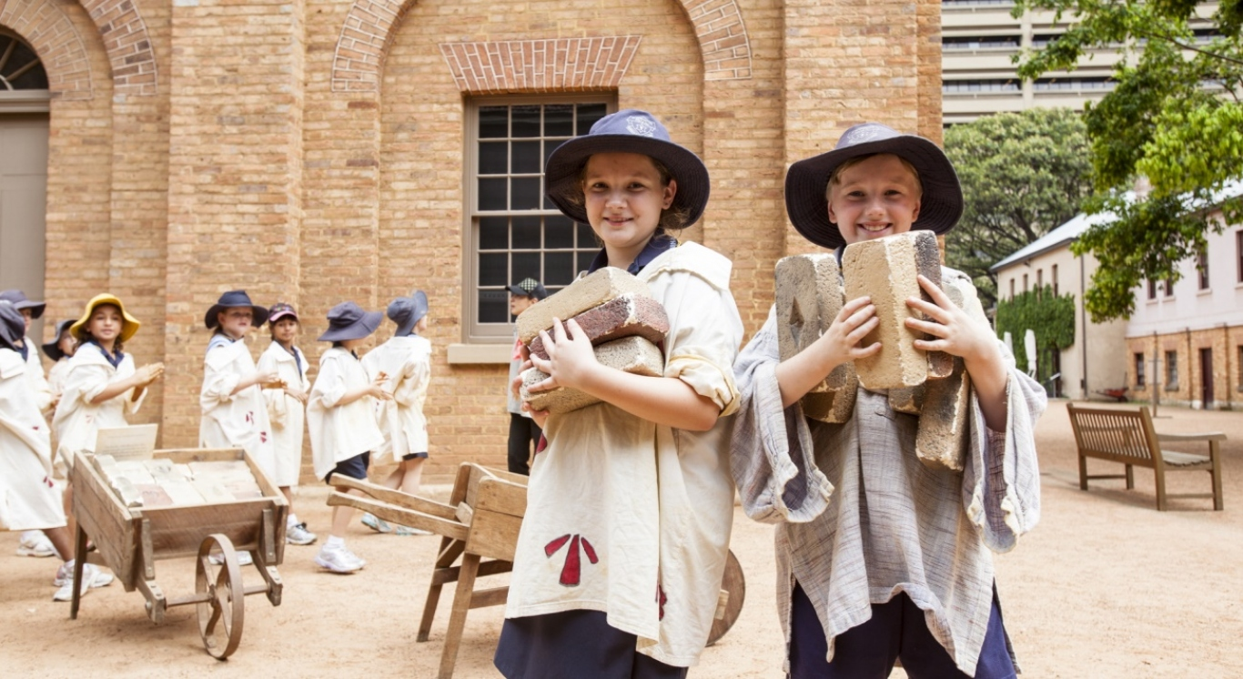 Students taking part in convict roleplay activities as part of an education program at the Hyde Park Barracks Museum