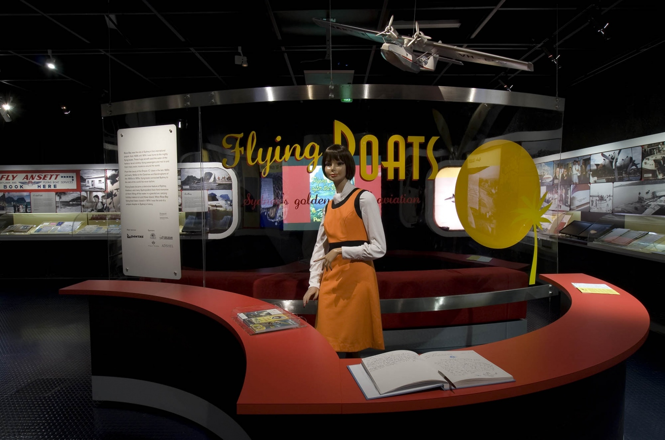 Interior of Flying Boats exhibition showing a mannequin of a hostess.