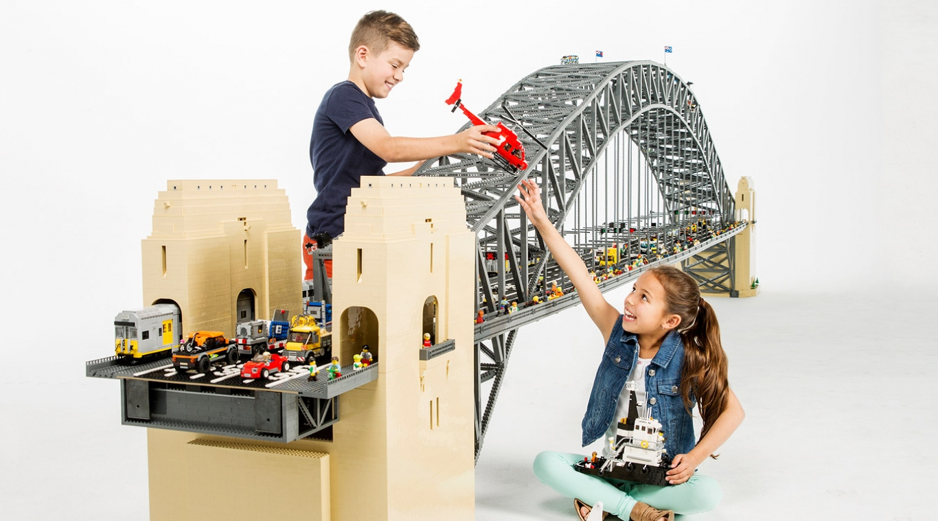 Children with items from Sydney Harbour with LEGO® Bricks exhibition