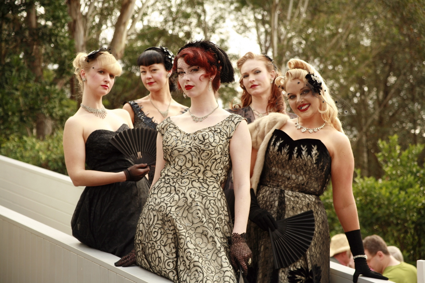 Dressed up in vintage frocks for the Fifties Fair