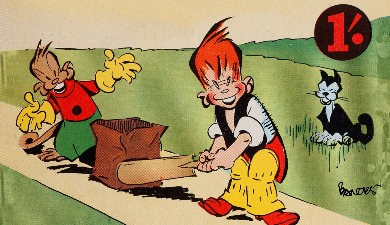 Cartoon graphic of Ginger Meggs. He is playing cricket with a friend, dog in background