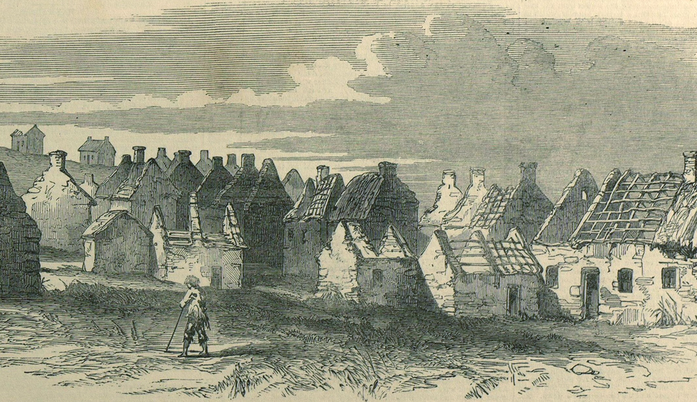 Drawing of a street view 1849