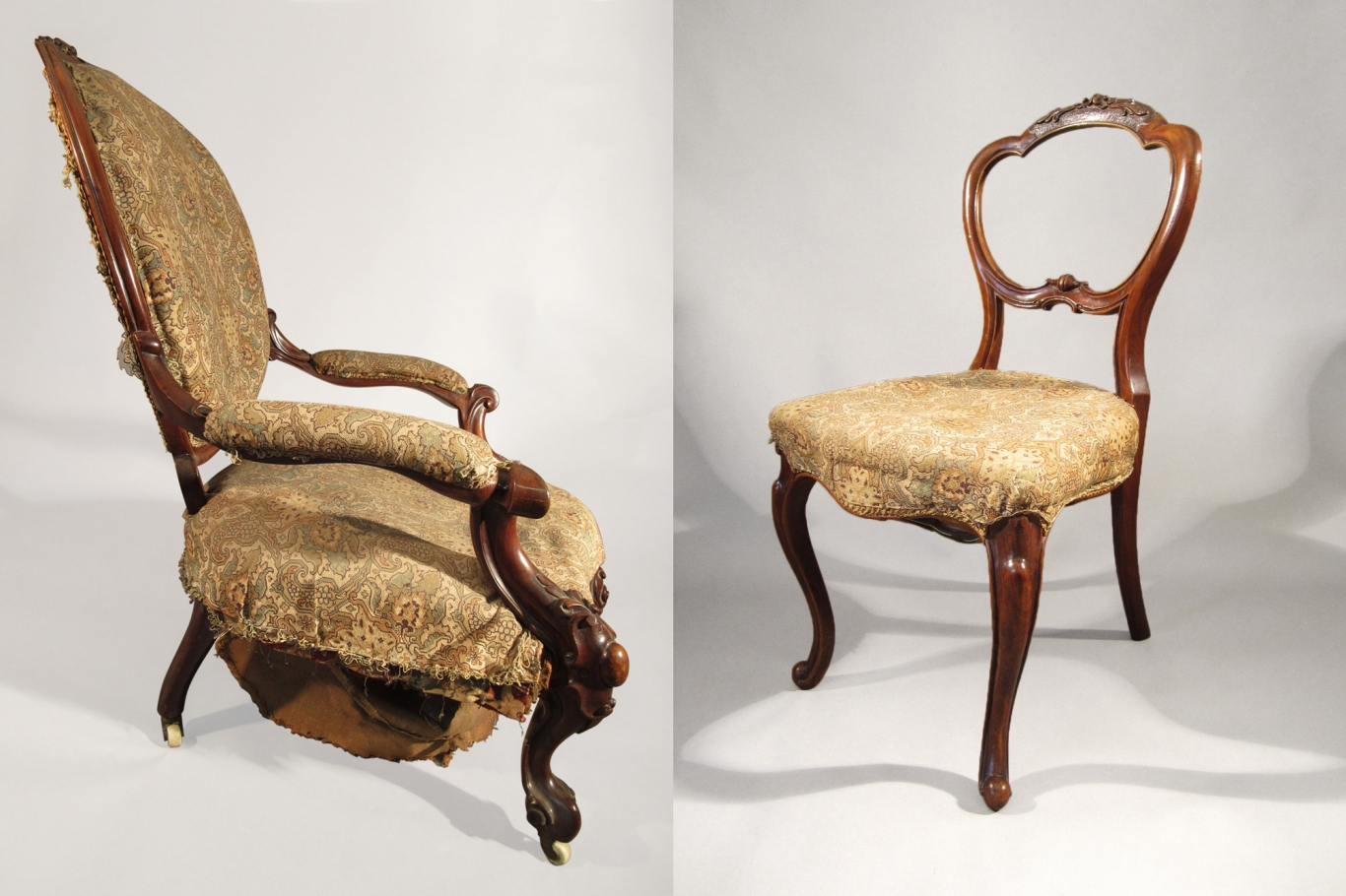 Two photos of old chairs - one with arms before repairs to the springs, which are visible, and one without arms after repairs.