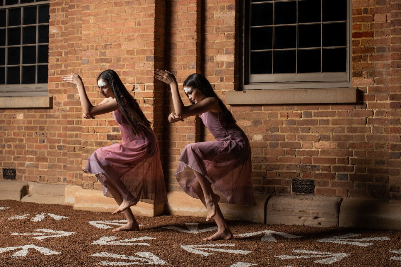Wiradjuri dancers Lowanna and Lucy Murray perform on untitled (maraong manaóuwi) 2019, Hyde Park Barracks