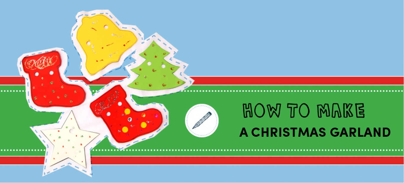 Make and take Christmas garlands banner decorated with brightly coloured shapes.