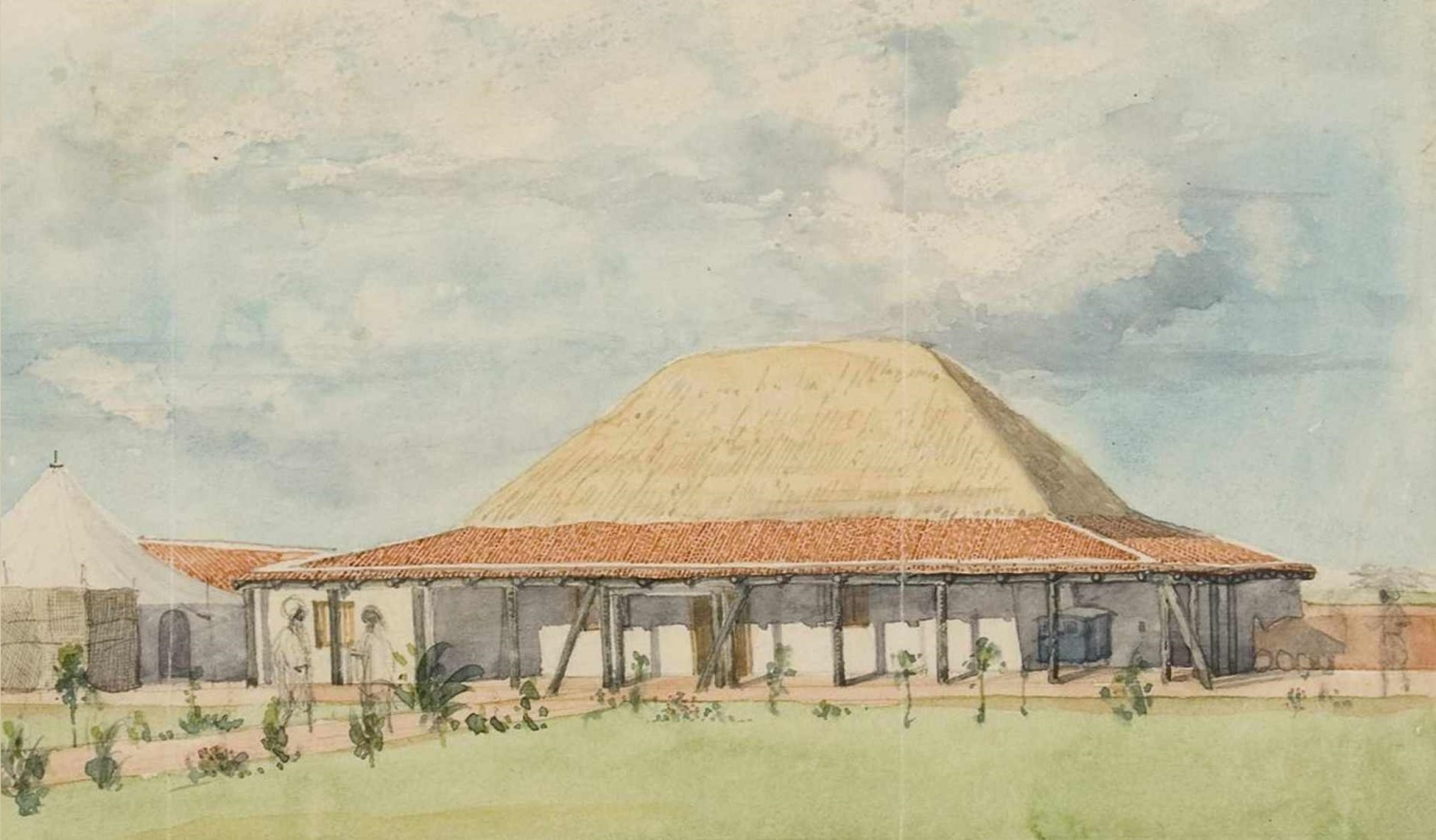 Front of temporary Mission House, Goobie [detail]. Artist unknown, c1837. Caroline Simpson Library & Research Collection