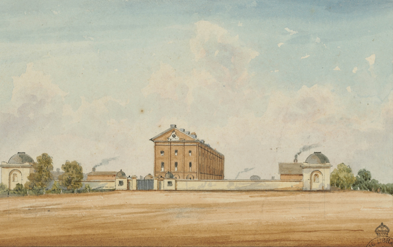 Water colour of the Hyde Park barracks showing front wall and gates. Smoke can be seen coming out of chimneys on either side of the 3 story brick barracks building.