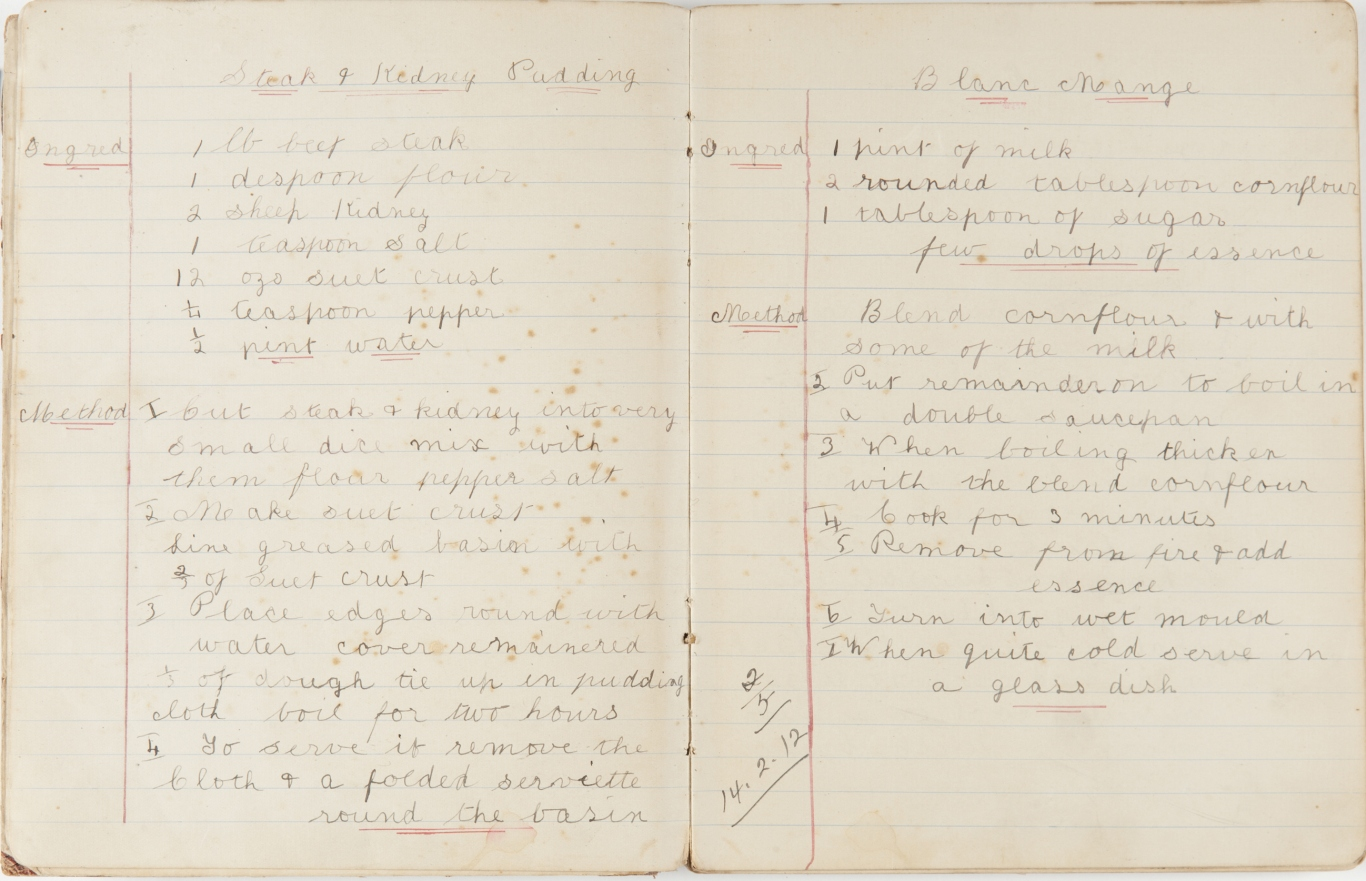 Hand written recipes on double spread of lined notebook.