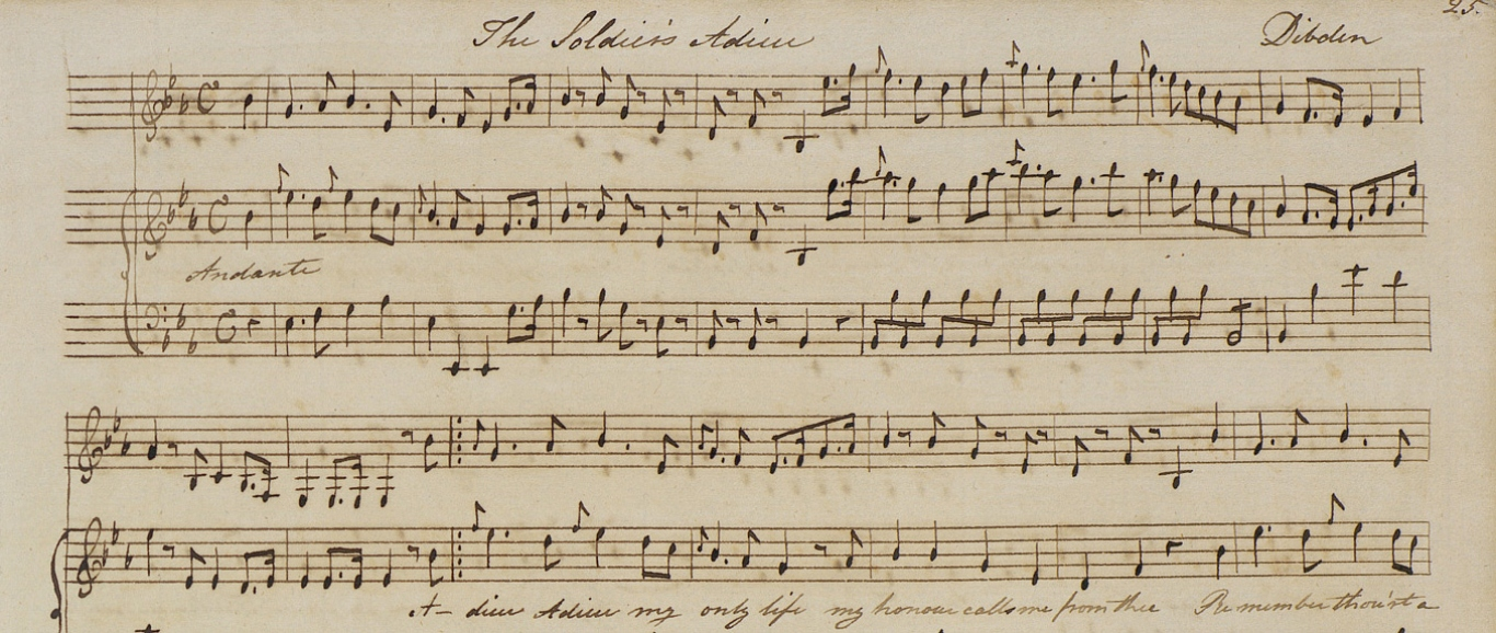 Handwritten transcription of 'The Soldier's Adieu' in Jane Austen's hand.