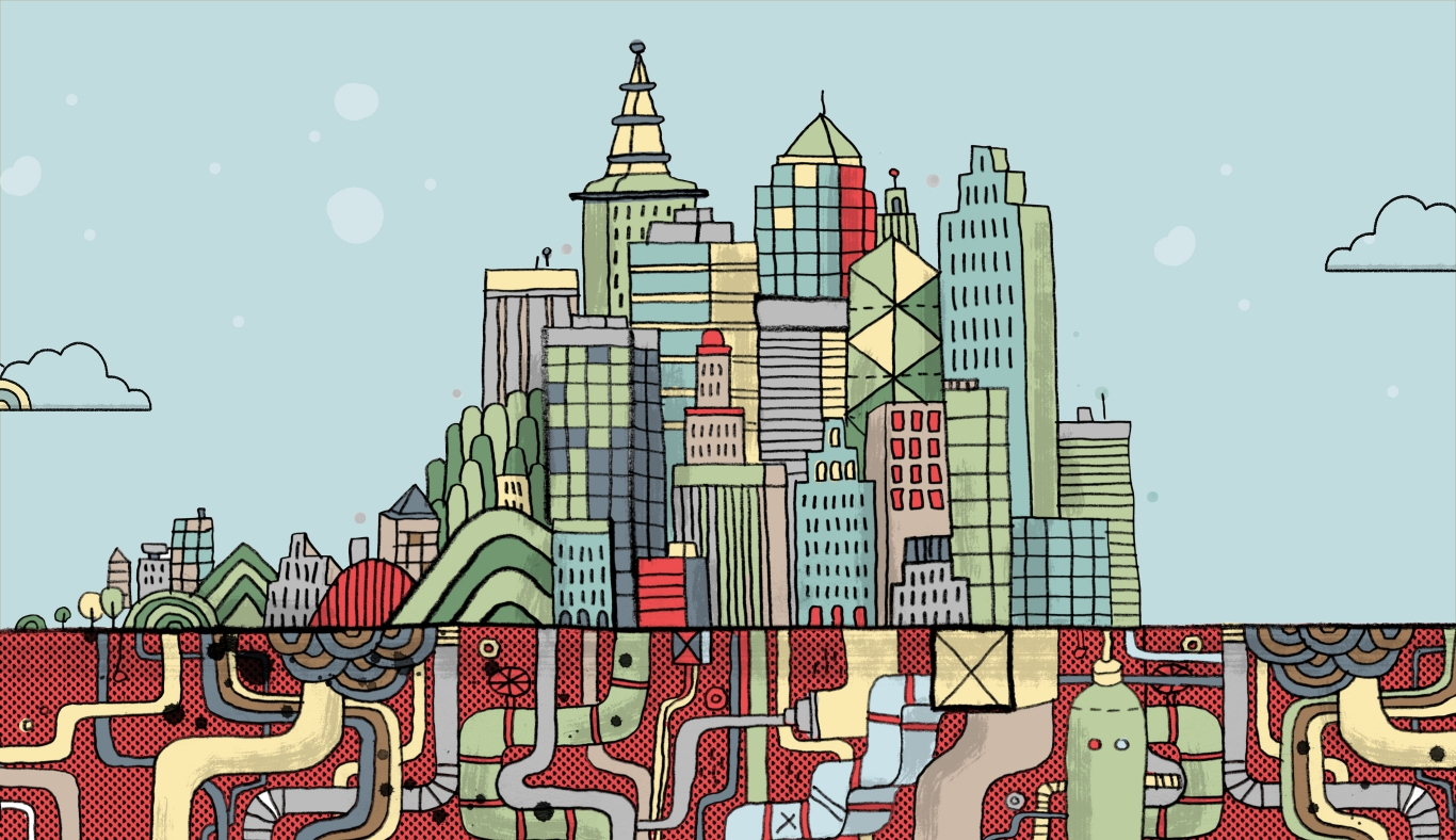 Header image of illustrated cityscape.