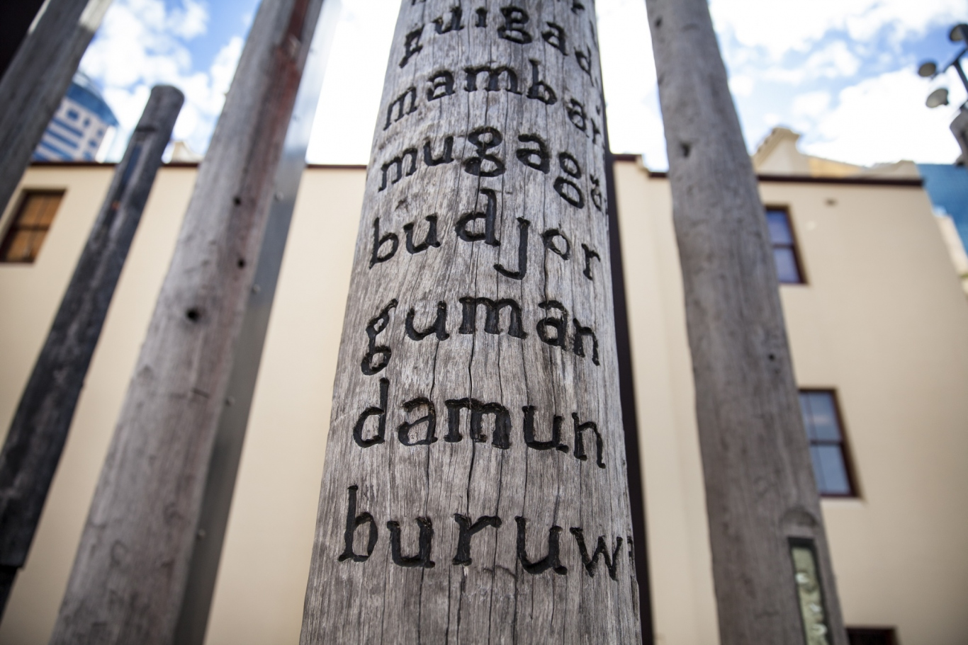 Wooden posts with carved words in indigenous languages.