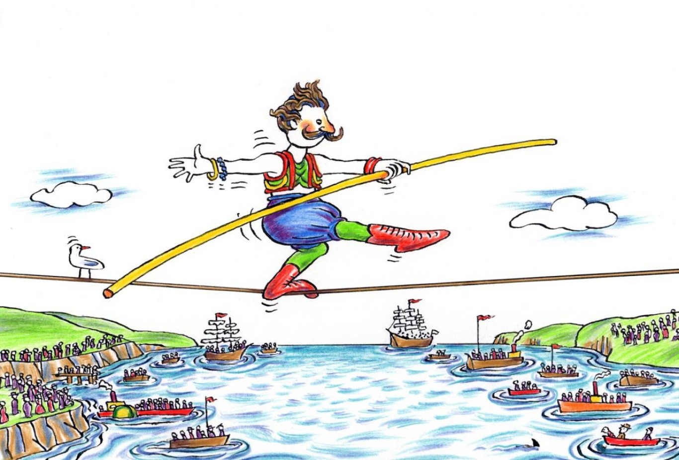 Cartoon drawing of a man on a tightrope