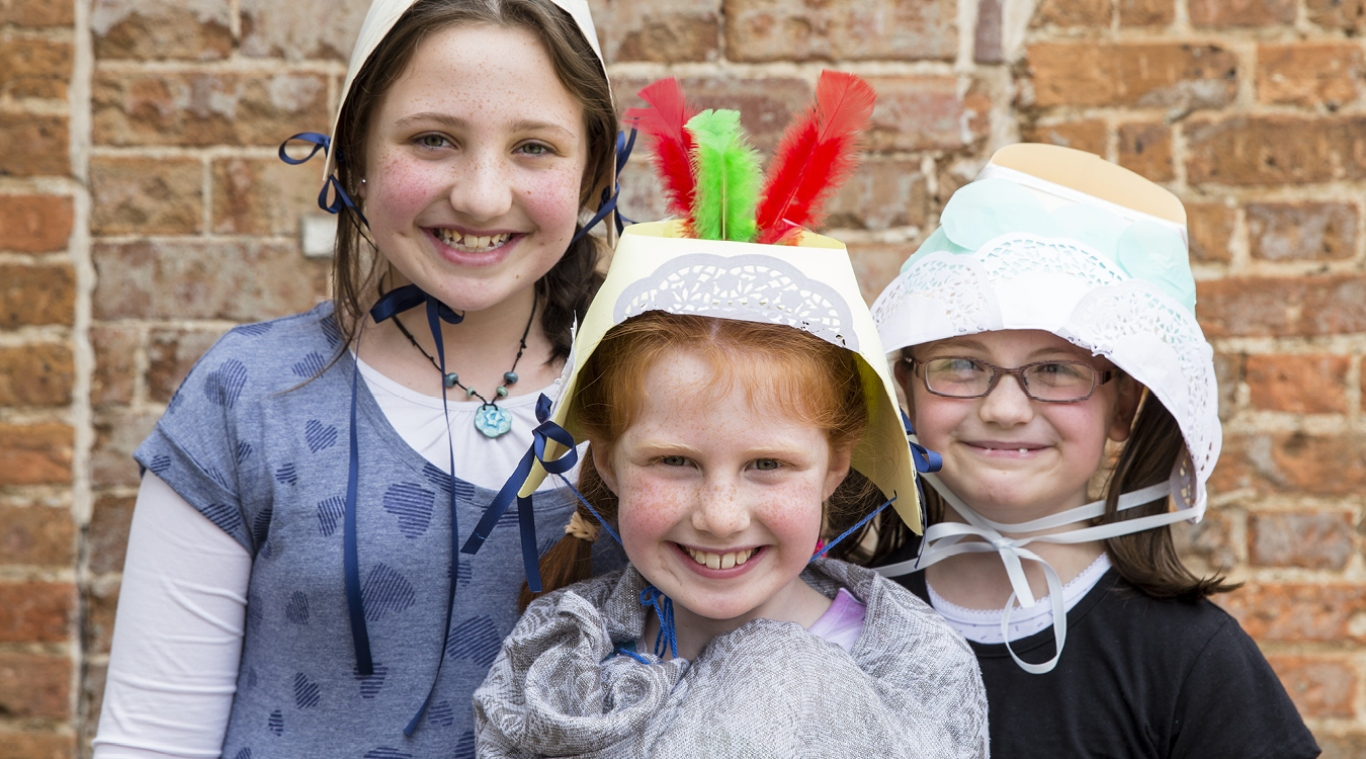 Children with handmade hats