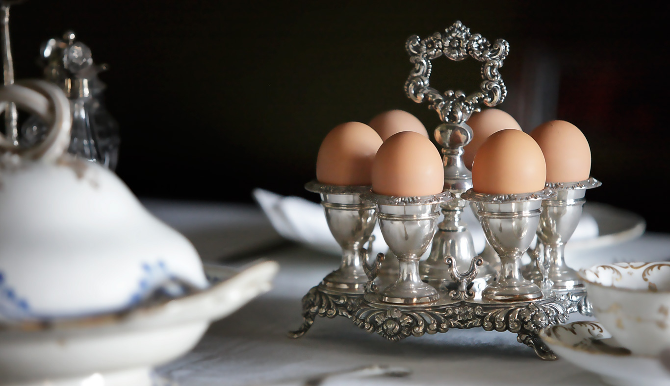 Eggs in silver egg cups