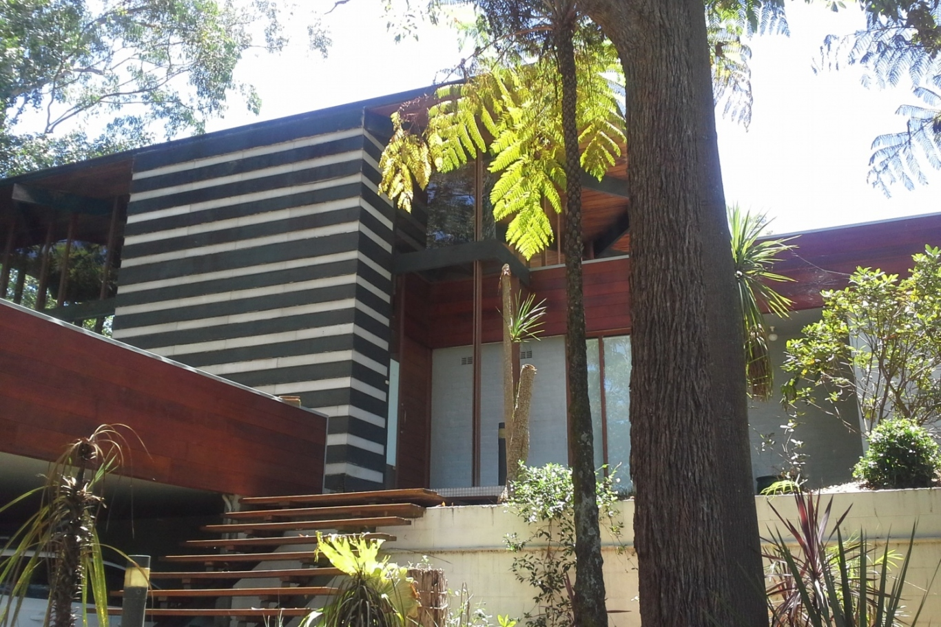 Image of the external steps and garden leading to Rippon House