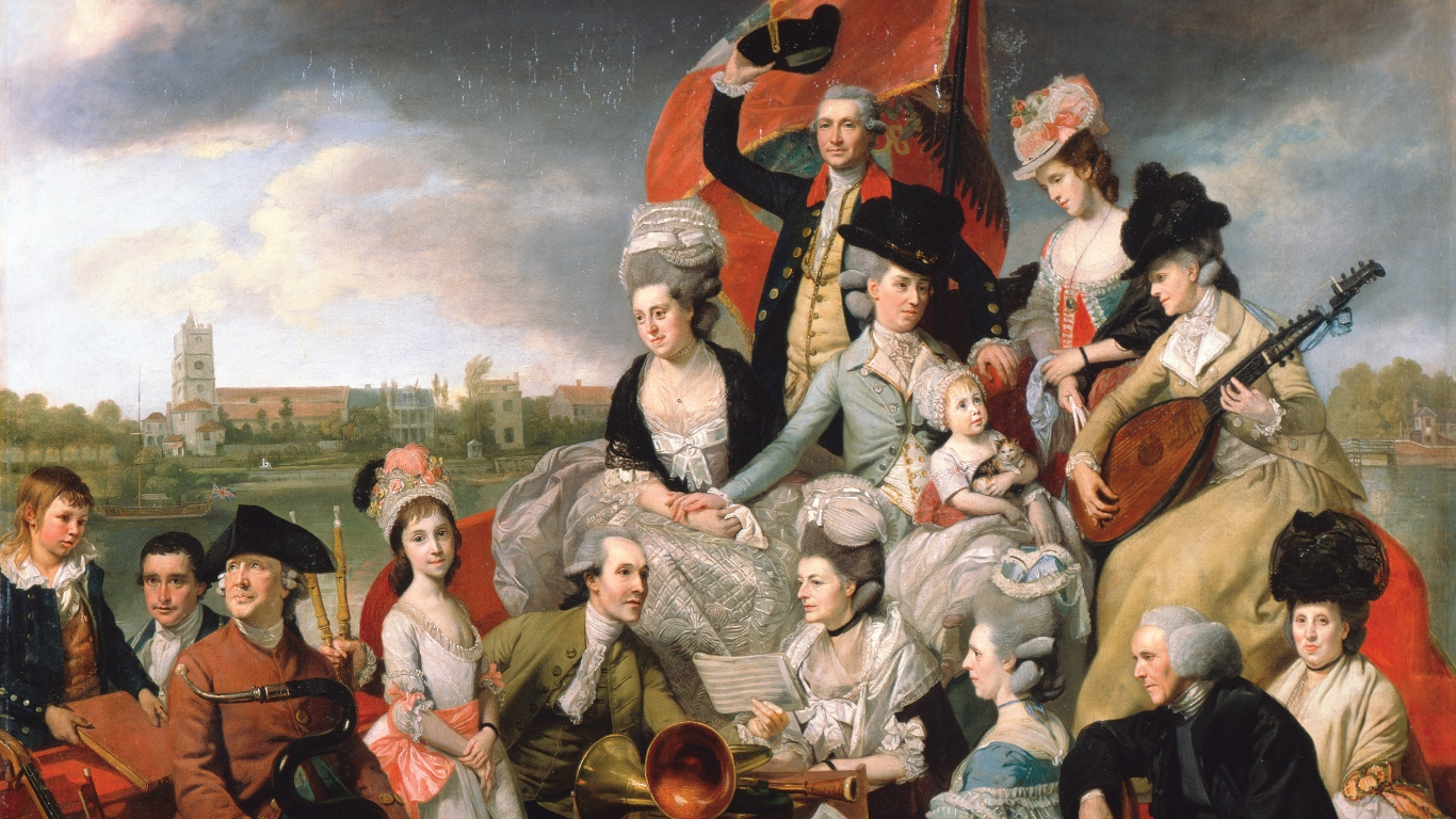 Detail of 'The Sharp family' (detail), Johan Joseph Zoffany, 1779–81. Private collection; on loan to the National Portrait Gallery, London.