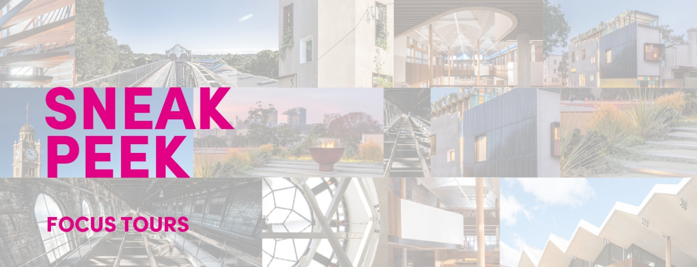 Pink text overlaid on background of building images.