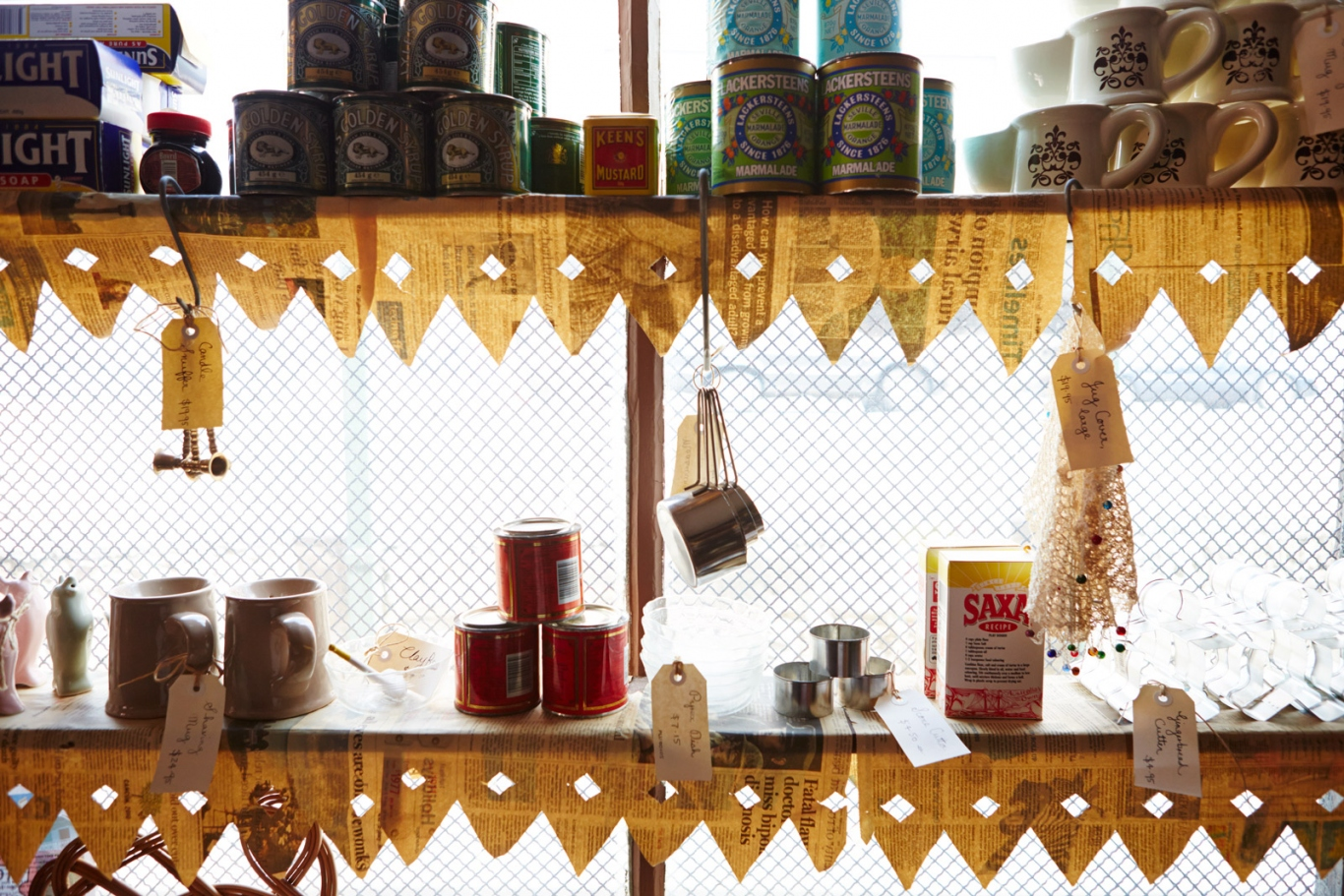 Goods for sale in the window of the corner shop
