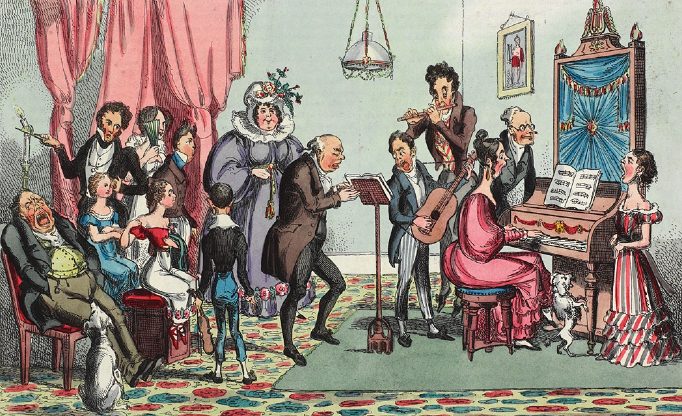 Highly coloured cartoon of very expressive group of people at a small concert.