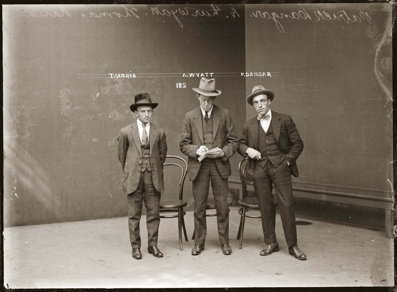 Mug shot of Thomas Maria, Arthur Wyatt, and Patrick Dangar (alias Brosnan), Central Police Station, ca. 1920.