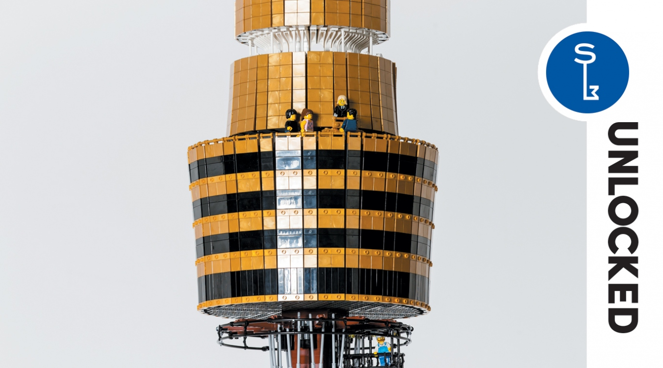 Unlocked Summer edition cover detail with closeup of LEGO model of Sydney Tower.