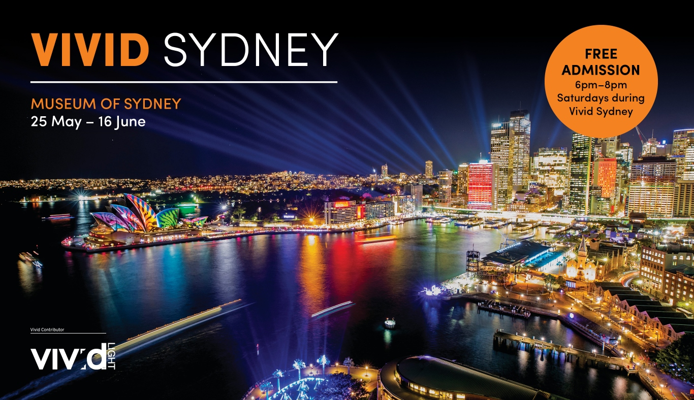 Promo image for Vivid at Museum of Sydney 2018.